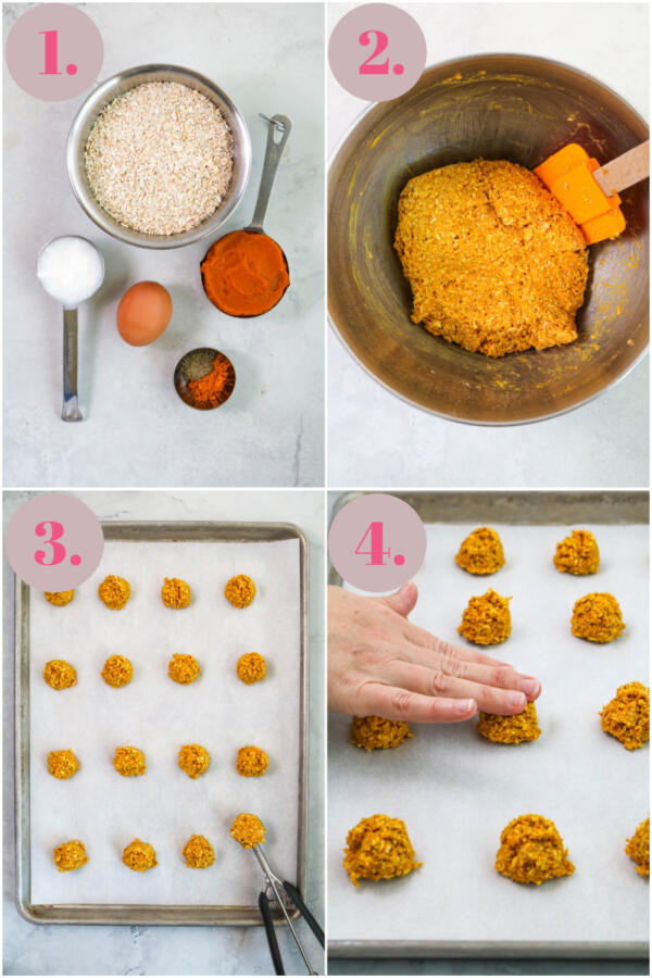 step by step instructions showing how to make pumpkin turmeric dog treats