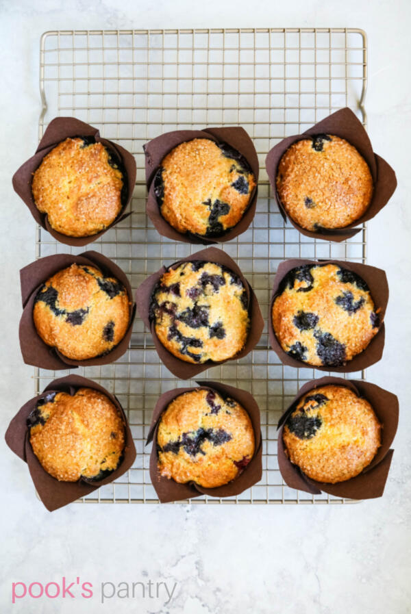 Baked blueberry muffins cooling on wire rack.