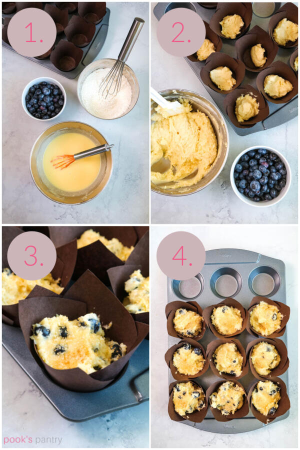 Step by step instructions for making muffins.