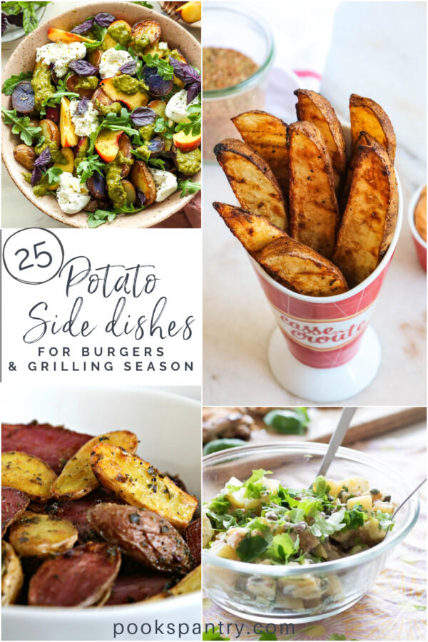 Pinterest collage of images for potato sides for burgers.