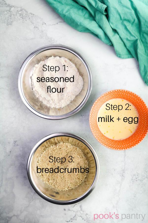 Standard breading procedure setup in bowls.