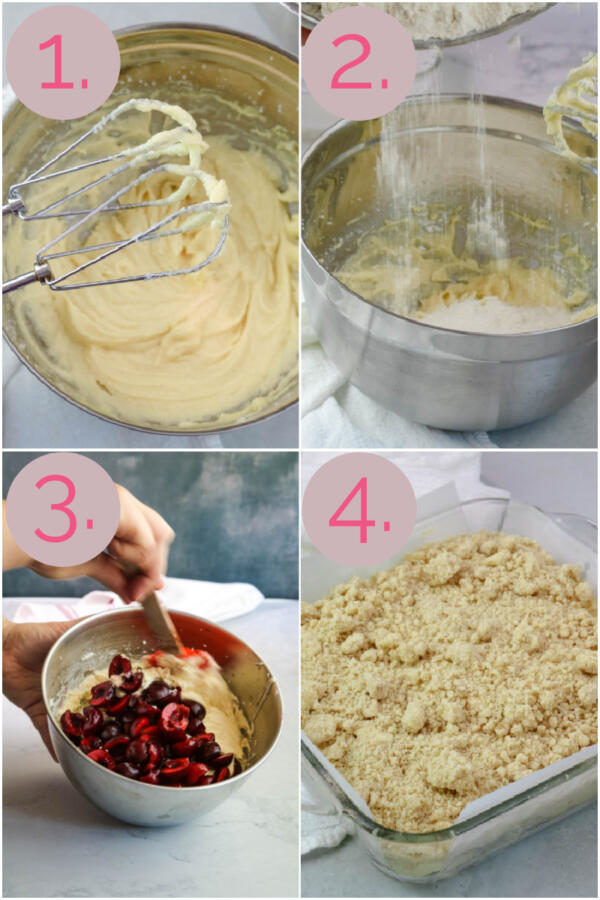 Step by step instruction collage for making cherry crumb cake.