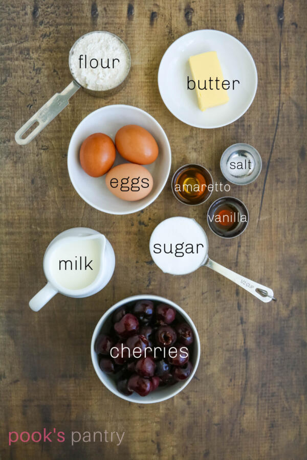 Ingredients for cherry clafoutis recipe.