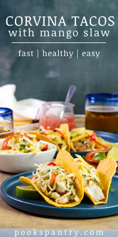 Image for Pinterest of corvina fish tacos