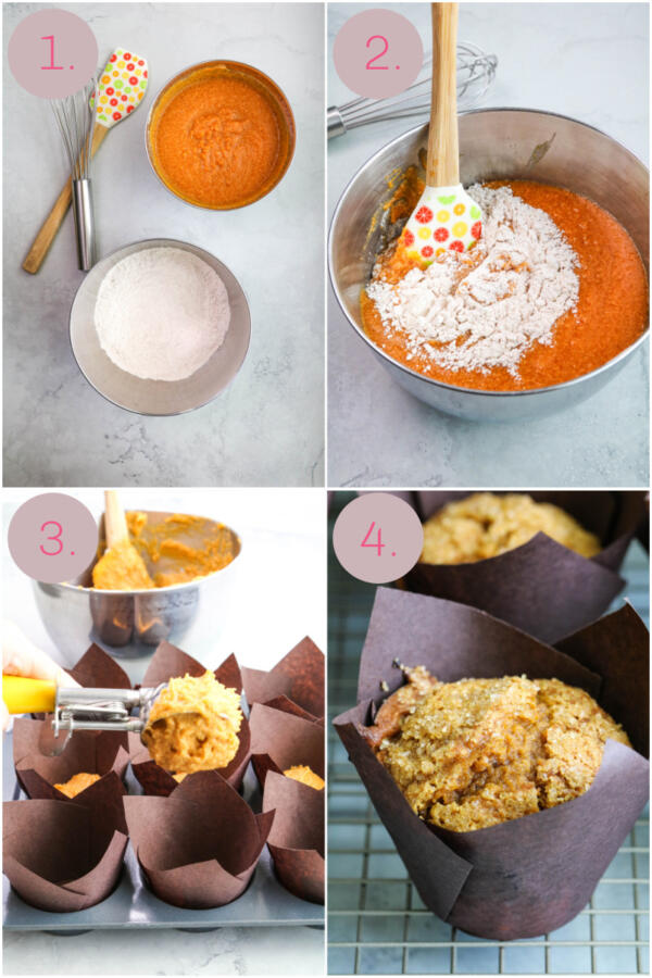 Step by step photo instructions for pumpkin muffins.