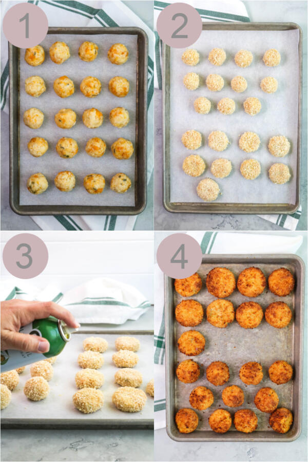 Step by step photos of making butternut squash risotto balls or arancini.