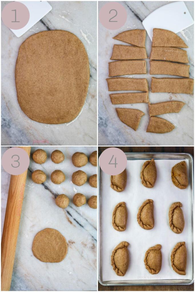 Step by step photos for making empanadas de calabaza recipe.