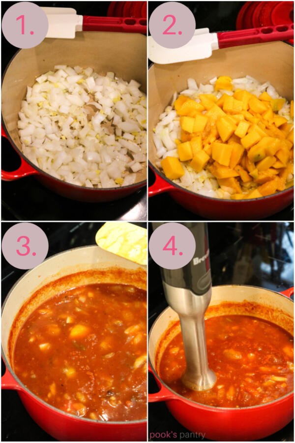 Step by step photos for making pineapple mango barbecue sauce.