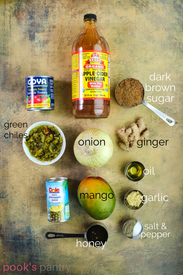 Ingredients for mango pineapple BBQ sauce on plaster background.