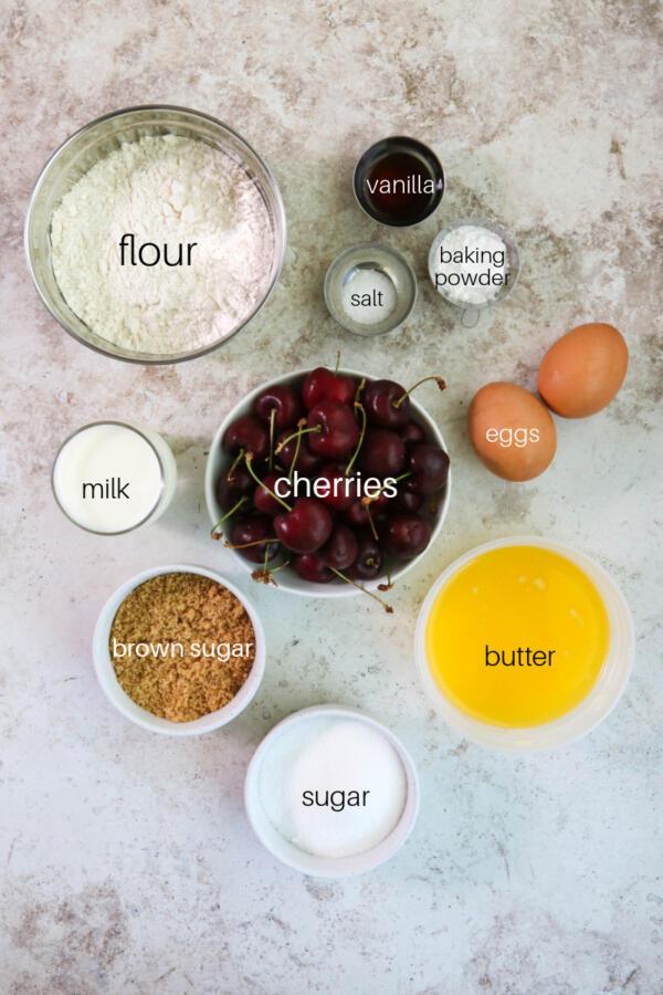 Ingredient shot for cherry muffin recipe.