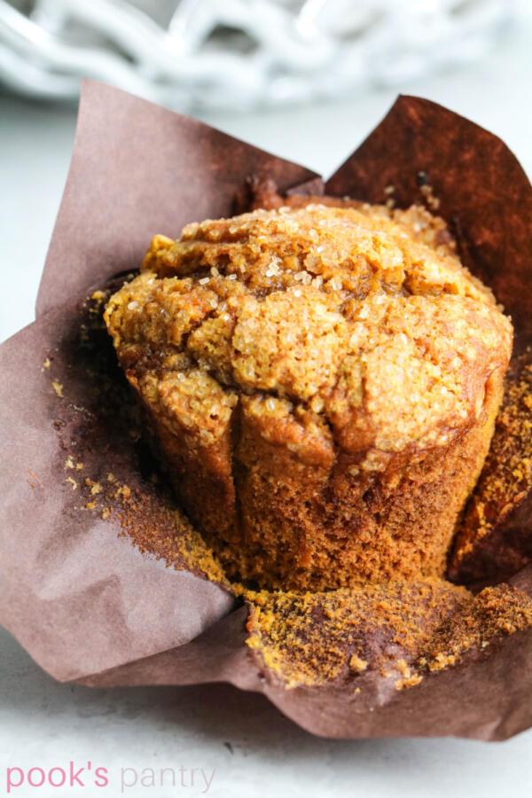 Pumpkin muffin recipe with sparkly sugar tops.