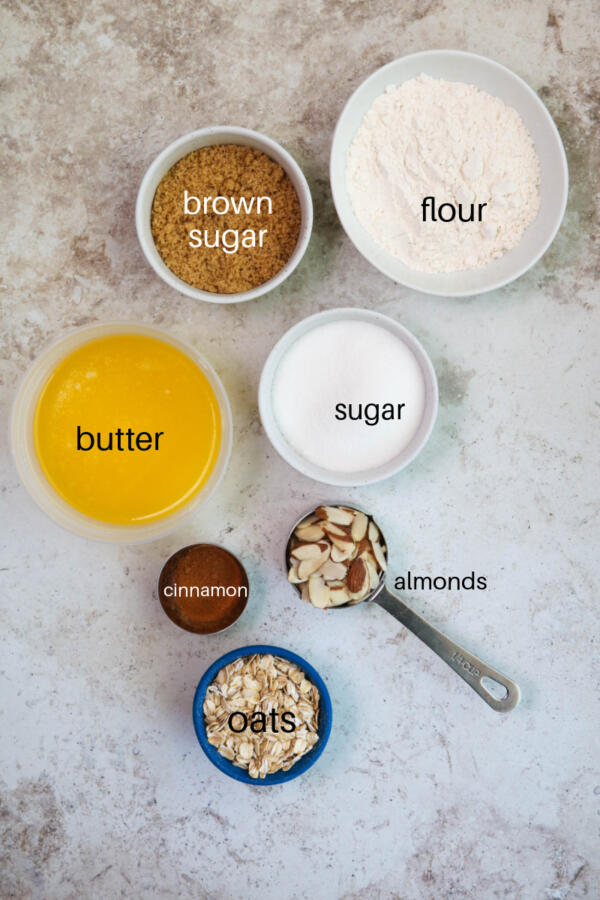 Ingredients for streusel muffin topping.