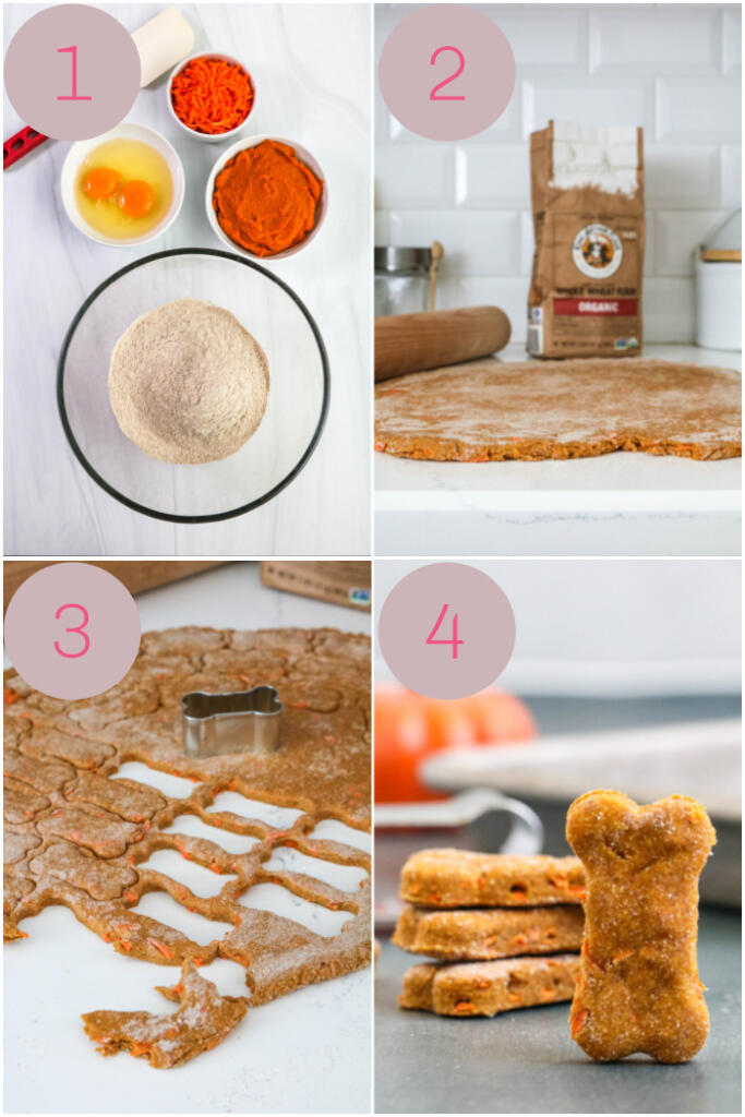 Step by step instructions for making dog treats.
