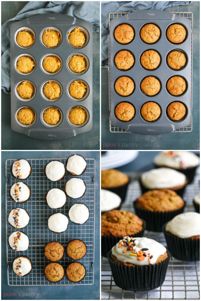 Step by step photos of baking muffins.