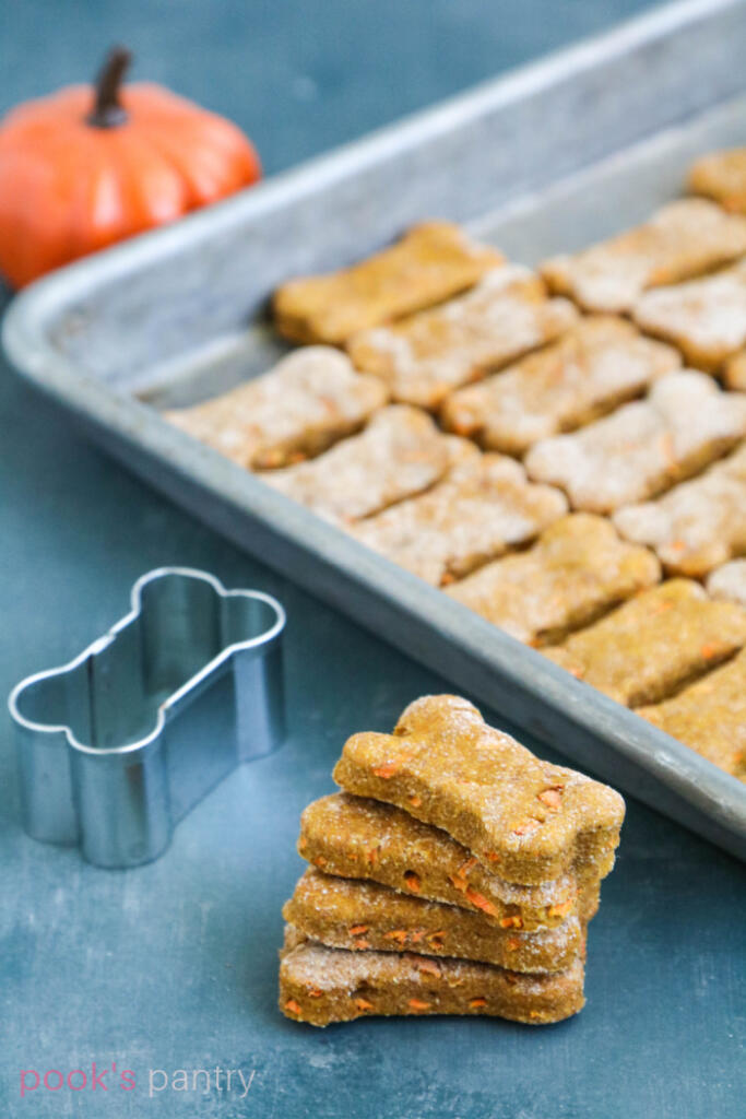 Carrot pumpkin dog treats with bone shaped cookie cutter behind them.
