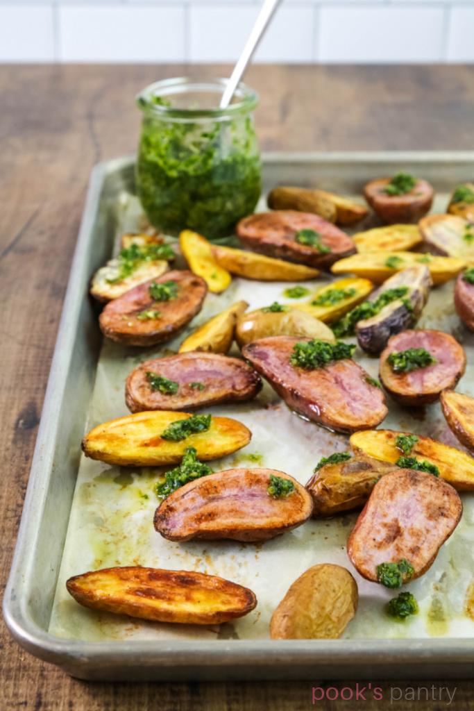 Roast fingerling potatoes on baking sheet with gremolata.