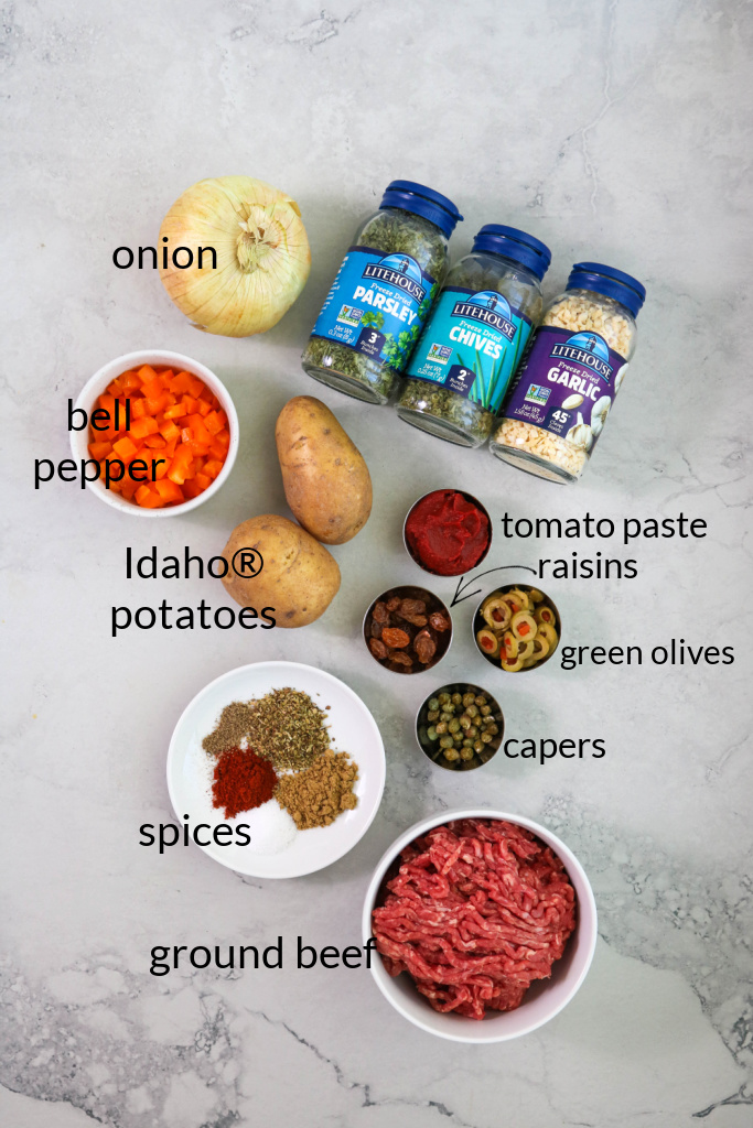 Ingredients for Cuban beef empanada recipe.