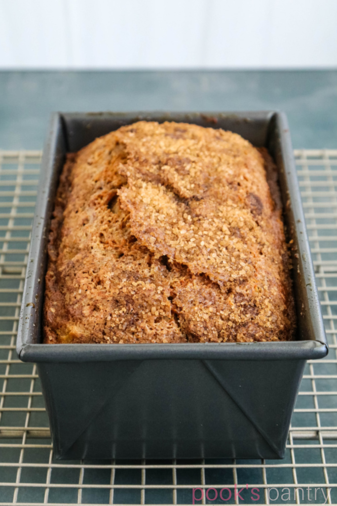 Baked Hubbard squash bread in loaf pan.