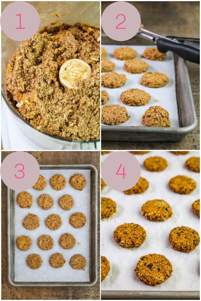 Step by step instructions for DIY dog treats with pumpkin and blueberries.