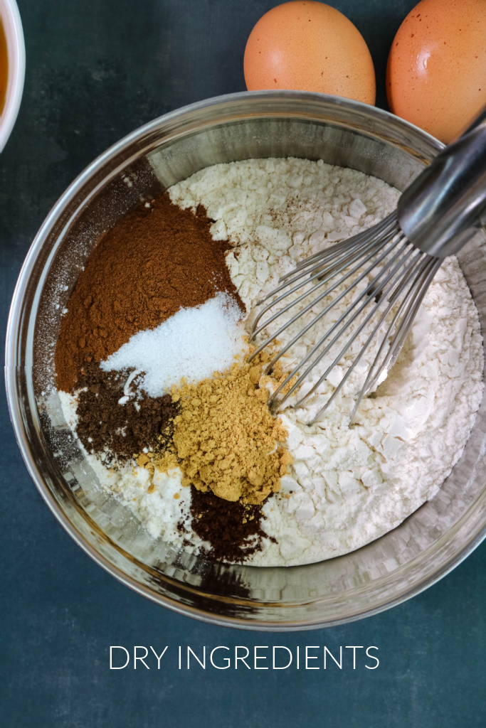 Dry ingredients in mixing bowl.