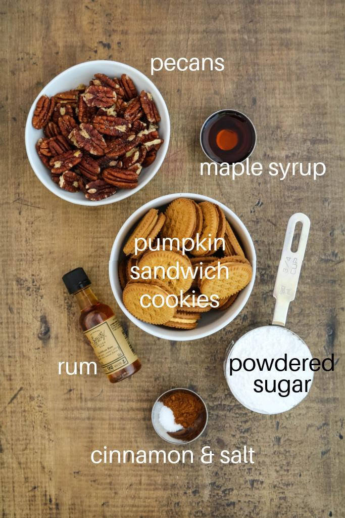 Ingredients for Halloween rum balls.