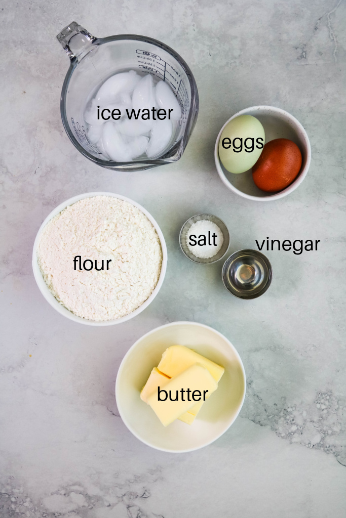 Ingredients for empanada dough on counter.