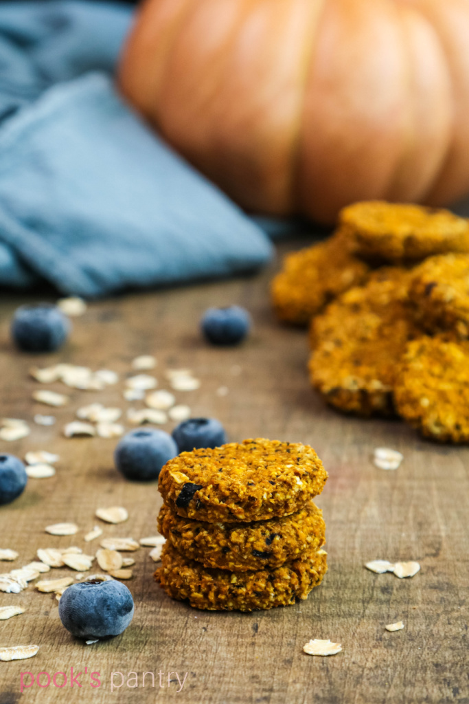 Easy dog treats with oats, pumpkin and blueberries on a wooden background.