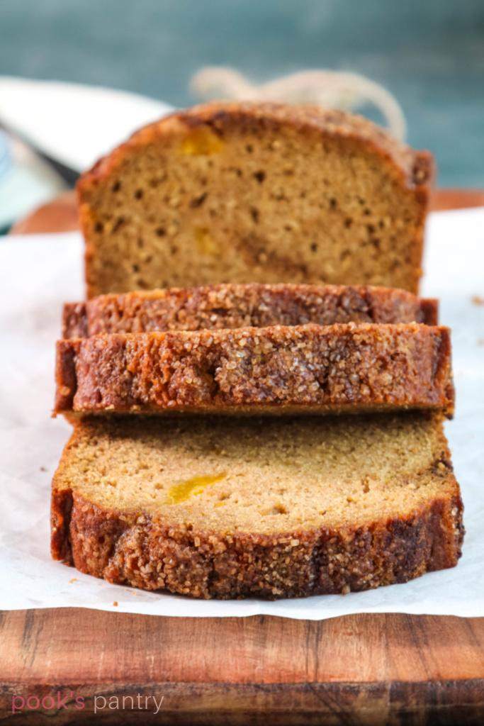 Slices of squash bread with cinnamon sugar top.
